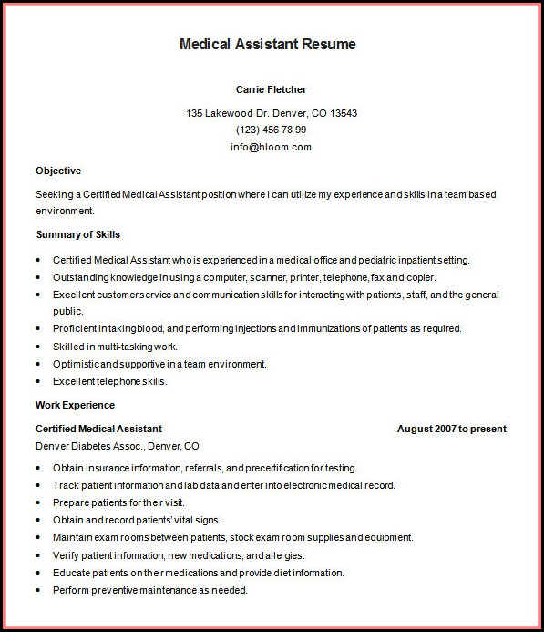 Sample Medical Resume Templates