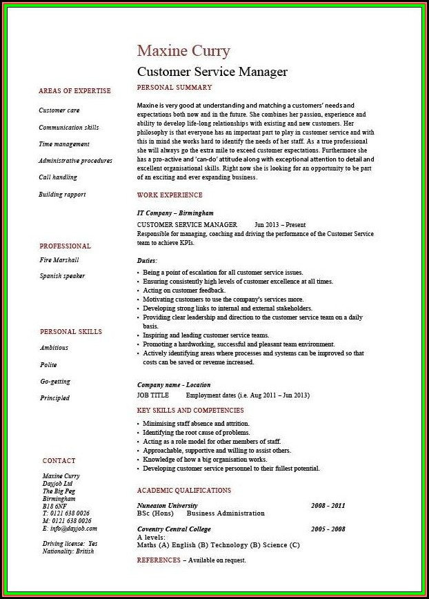 Sample Of Resume For Customer Service Manager