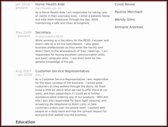 Sample Resume For Hha