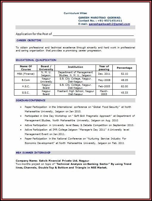 Sample Resume For Mba Freshers Doc