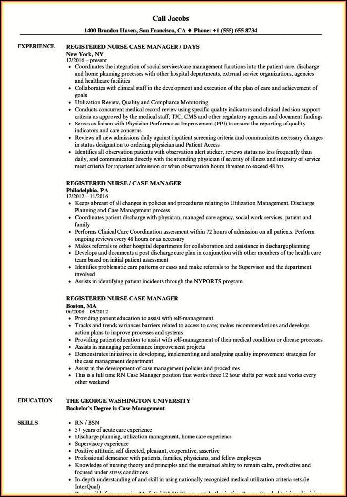 Sample Resume Rn Case Manager