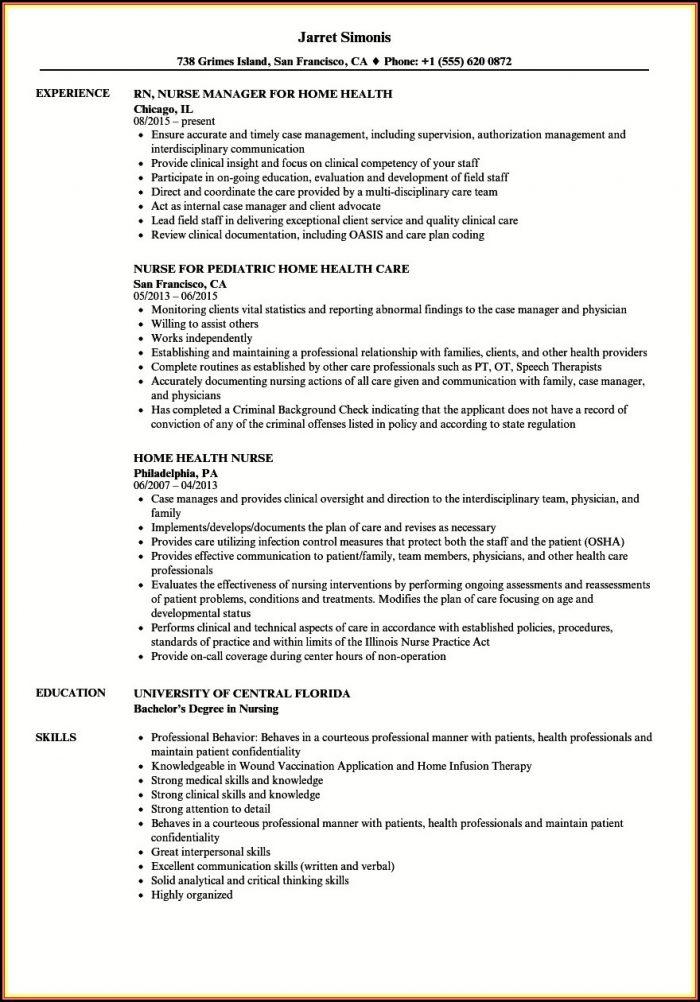 Sample Resume Rn Home Health