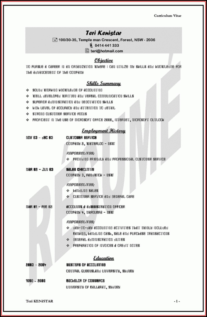 Sample Resumes Australia Templates