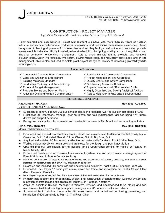 Sample Resumes For Project Managers In Construction