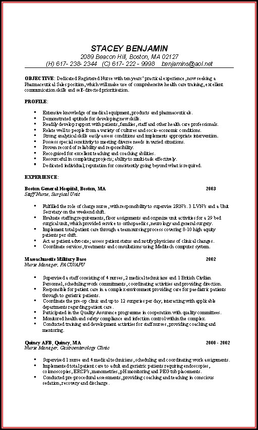 Sample Staff Nurse Resume