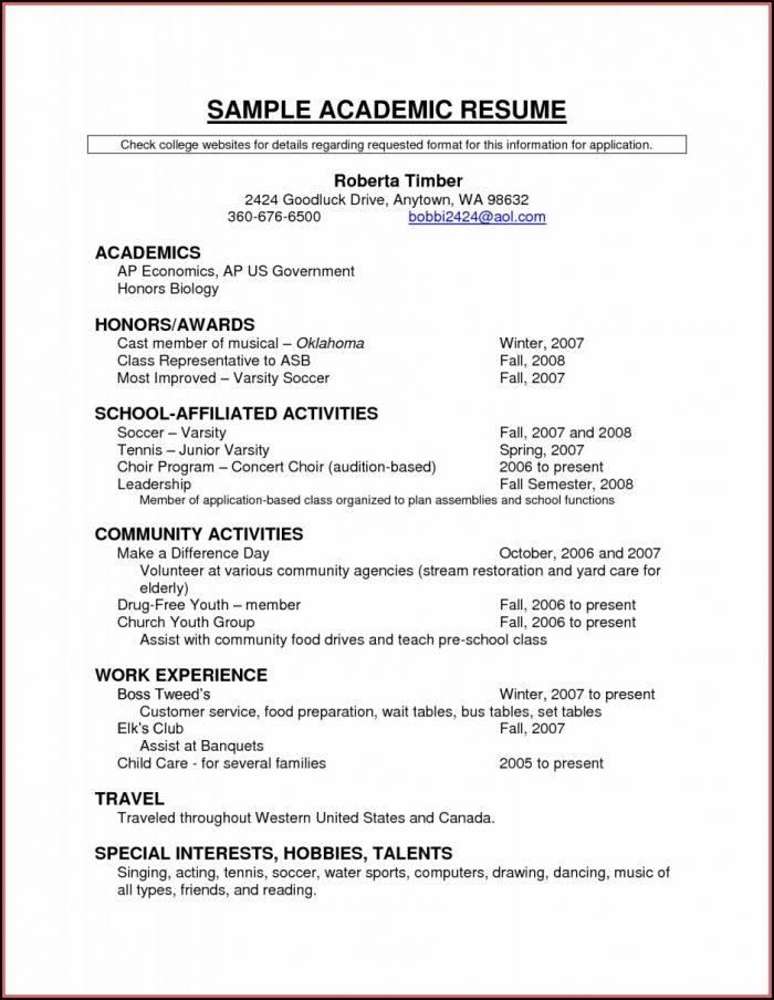 Scholarship Resume Templates Samples