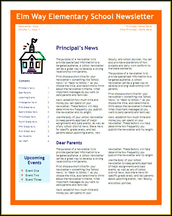 School Newsletter Templates Word Free Download