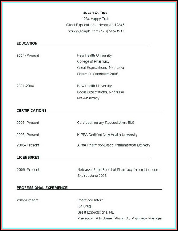 Simple Resume Format Ms Word Download