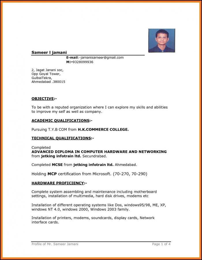 Simple Resume Format Word 2007