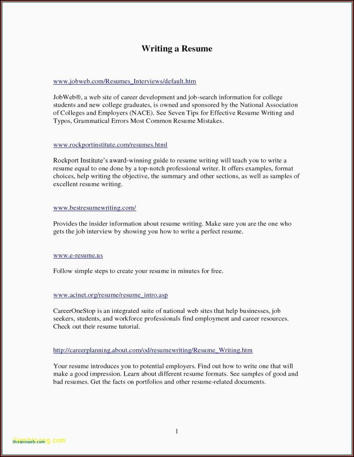 Simple Resume Samples Pdf