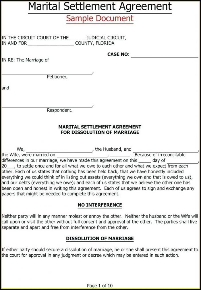 Simple Separation Agreement Template Nc