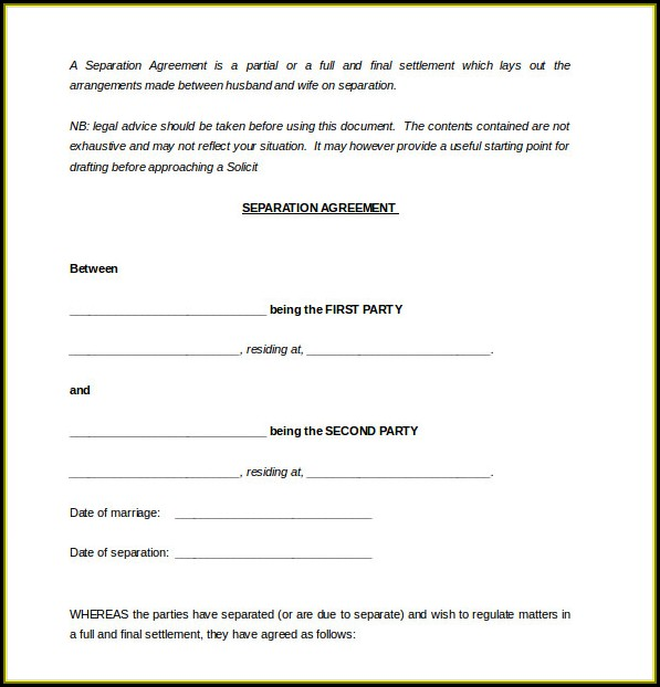 Simple Separation Agreement Template