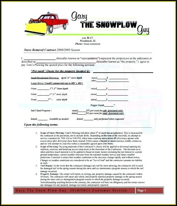 Snow Removal Bid Template Free