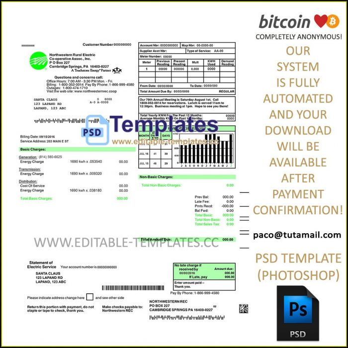 Utility Bill Template Psd Free