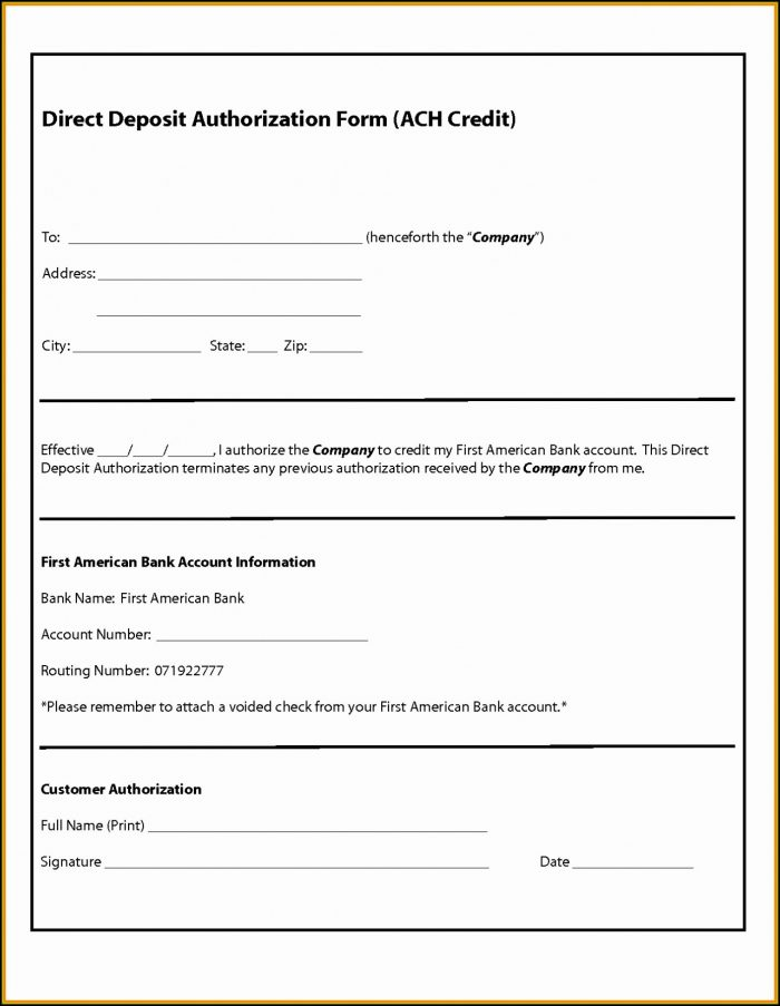 Vendor Direct Deposit Authorization Form Template