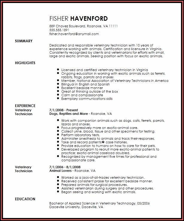 Veterinary Technician Resume Templates