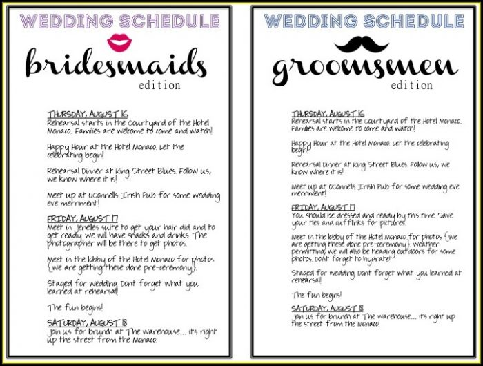 Wedding Day Itinerary Template For Bridal Party