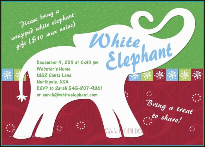White Elephant Christmas Party Invitation Templates