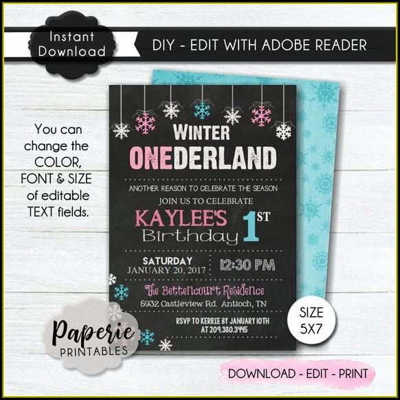 Winter Wonderland Birthday Invitation Template