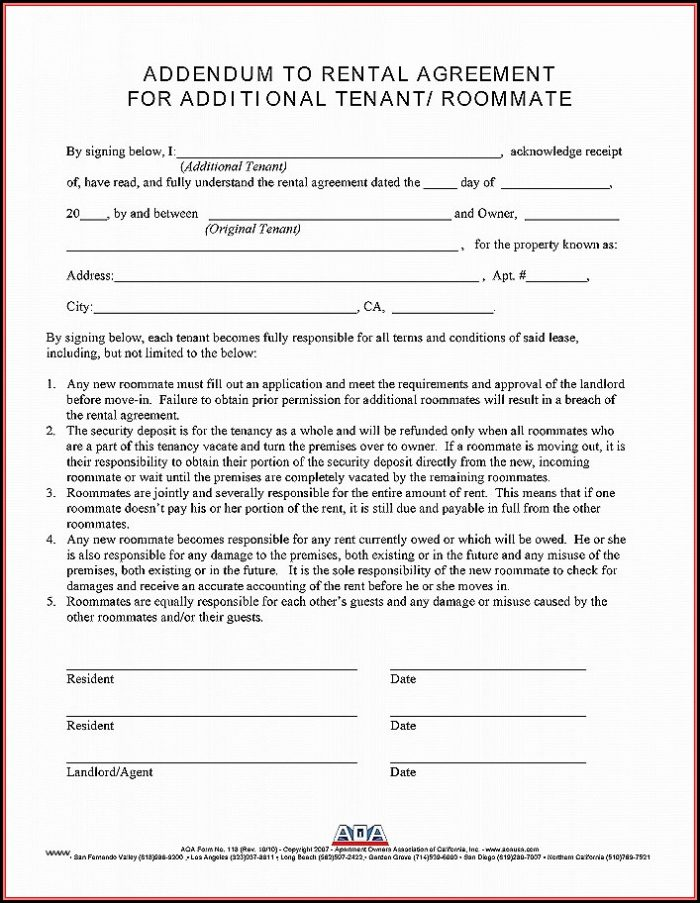 Addendum To Residential Lease Agreement Form
