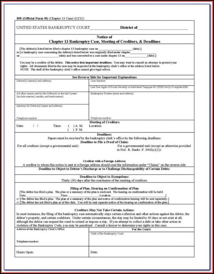Bankruptcy Chapter 13 Forms California