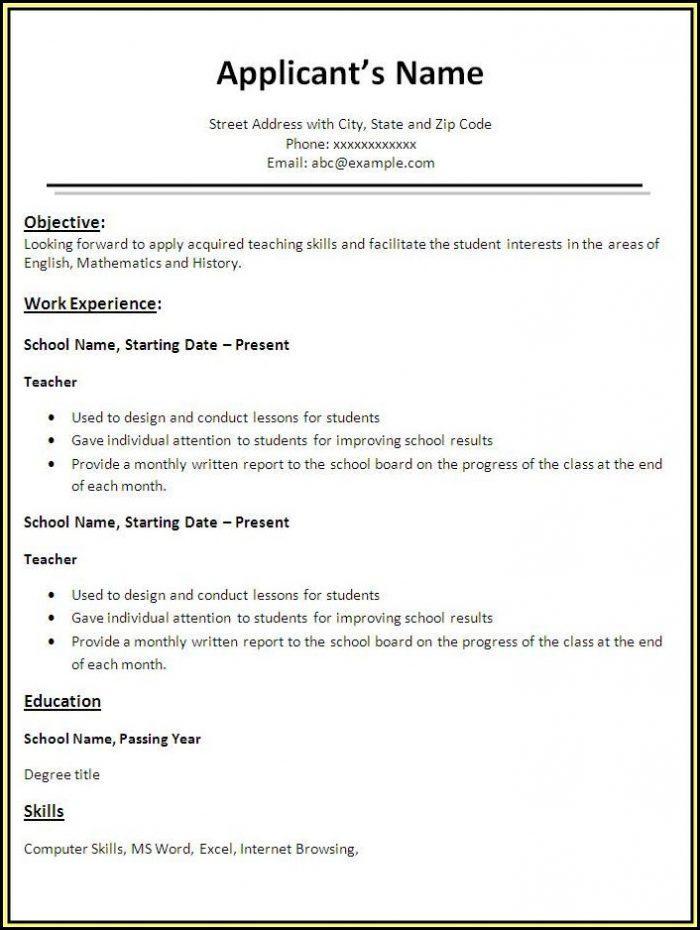 Best Free Resume Templates For Teachers