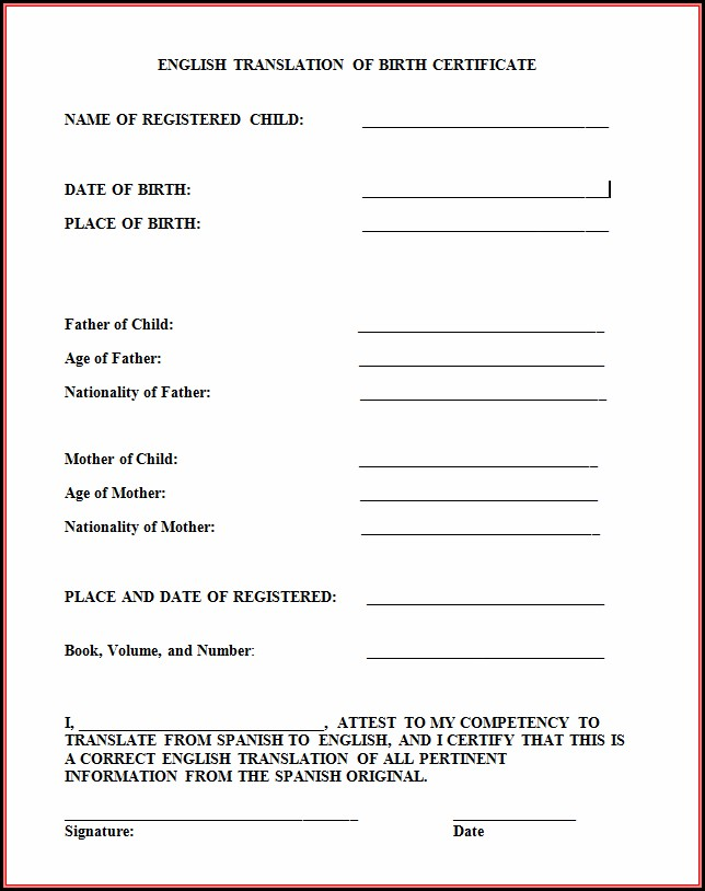 Birth Certificate Translation Form Pdf