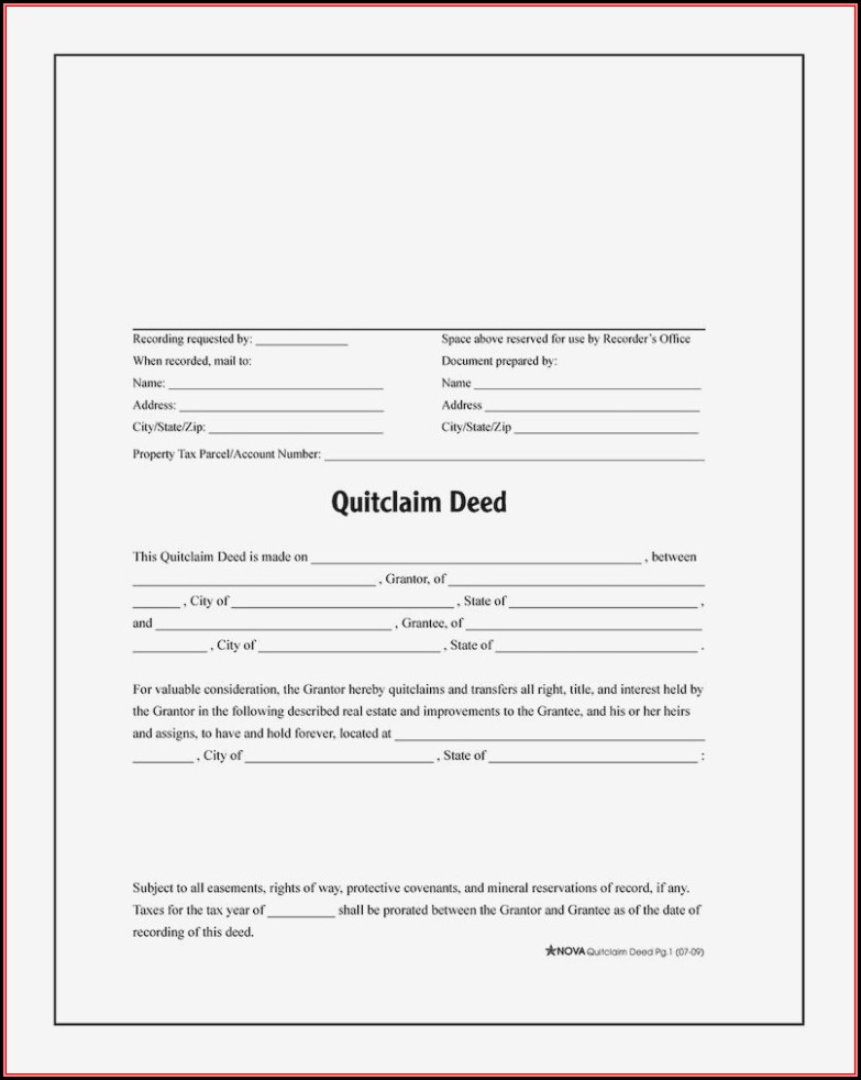 California Quit Claim Deed Form Instructions