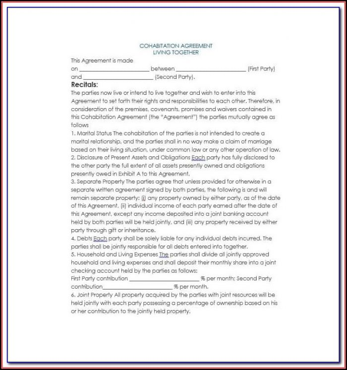 Cohabitation Agreement Form Alberta