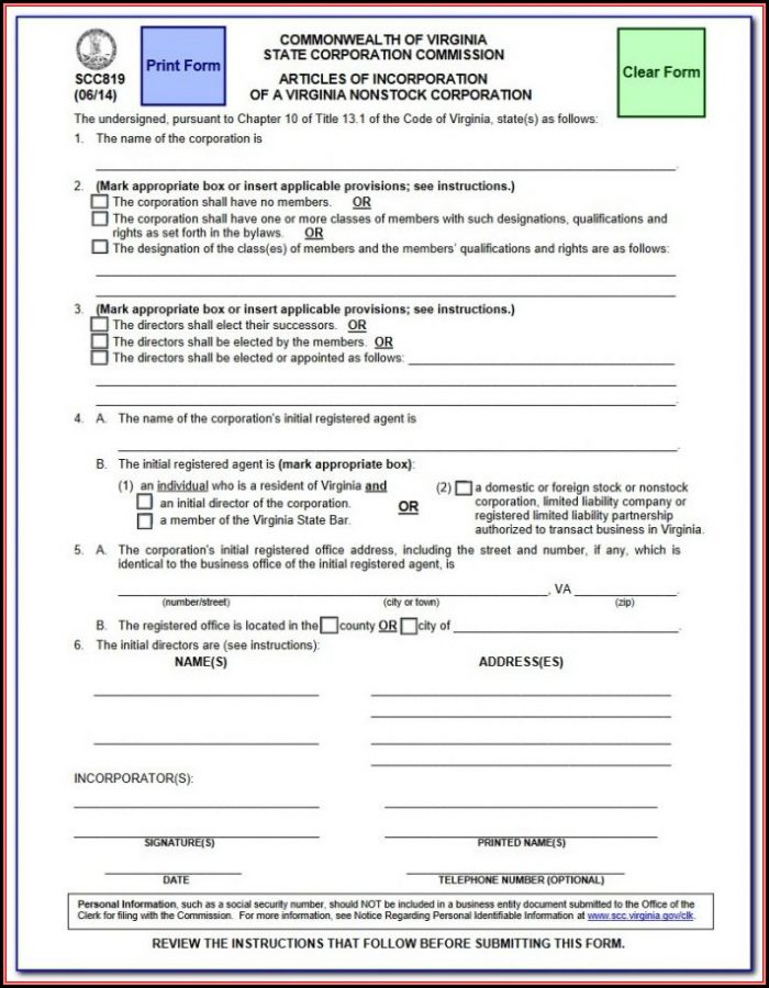 Commonwealth Of Virginia State Corporation Commission Annual Report Form