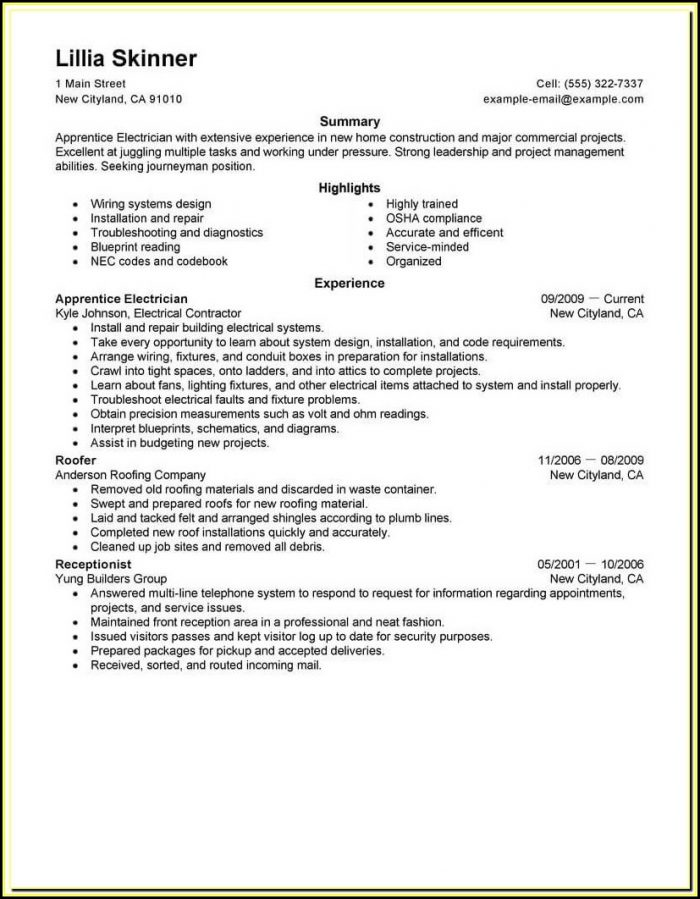 Construction Electrician Resume Templates