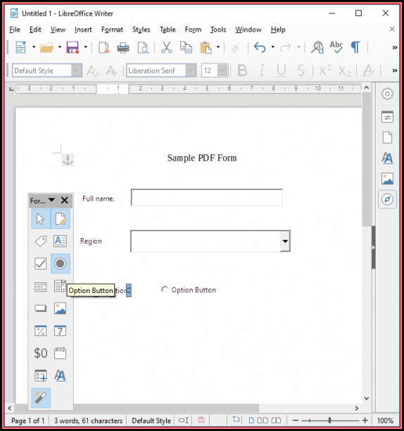 Create Fillable Pdf Form Libreoffice