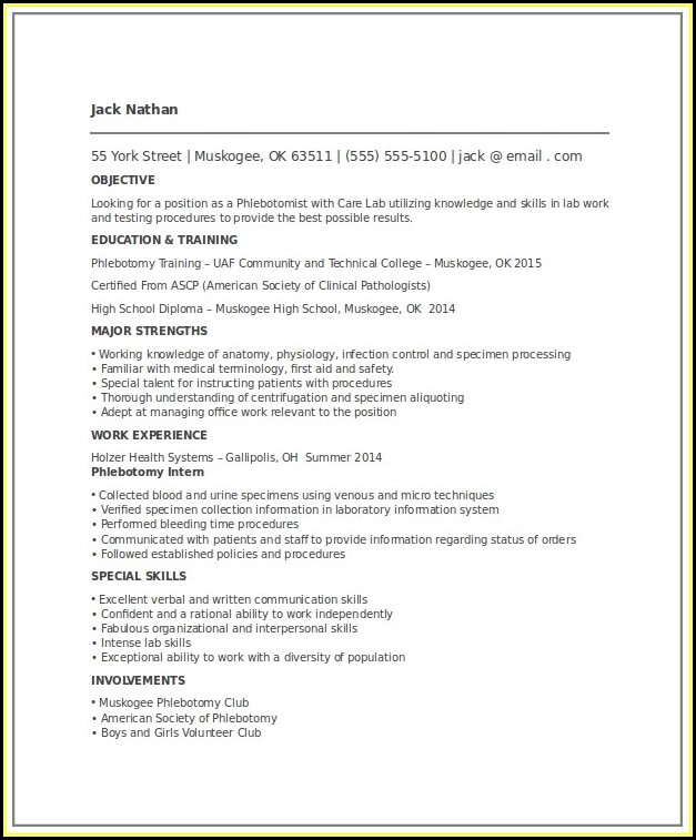Entry Level Phlebotomy Resume Templates