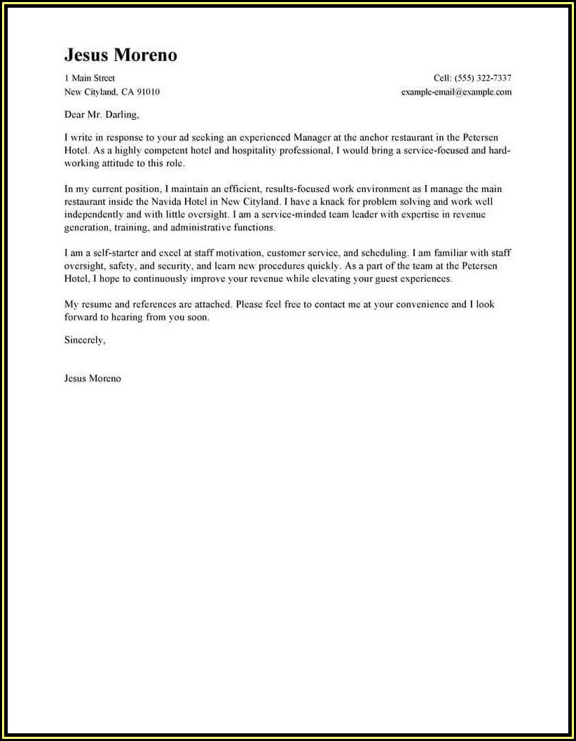 Examples Of Good Resumes And Cover Letters