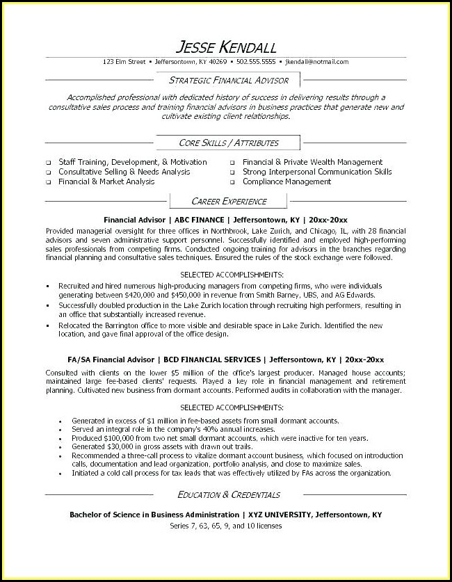 Financial Advisor Resume Template