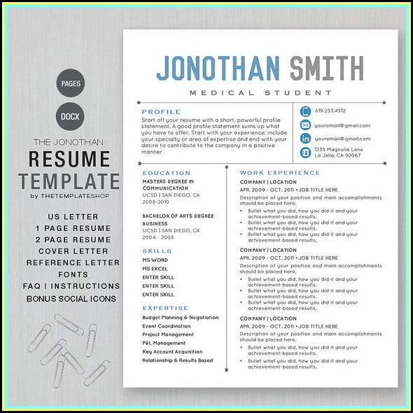 Free Creative Resume Templates Microsoft Word For Freshers