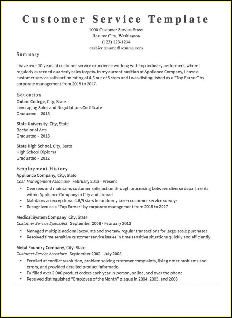 Free Customer Service Resume Builder