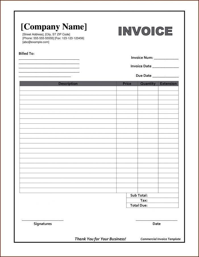 Free Printable Invoice Templates Download