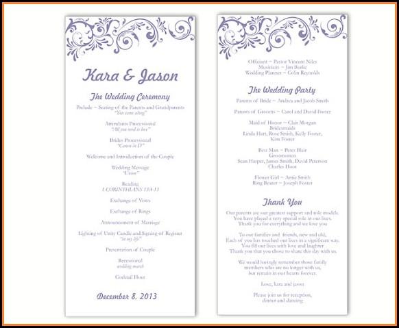Free Printable Wedding Program Templates Microsoft Word