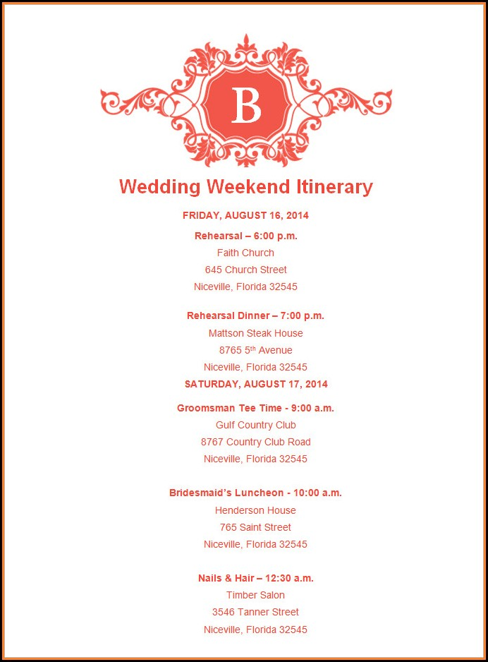 Free Wedding Itinerary Template For Guests