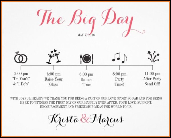 Free Wedding Itinerary Template Word