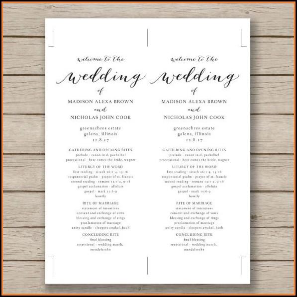 Free Wedding Program Template Word
