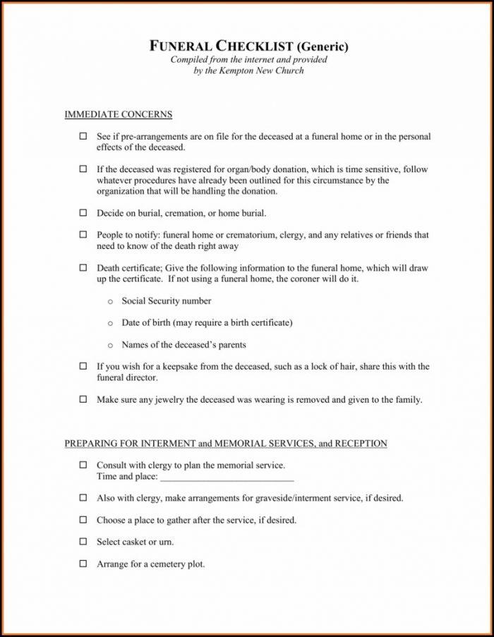 Funeral Checklist Template Canada
