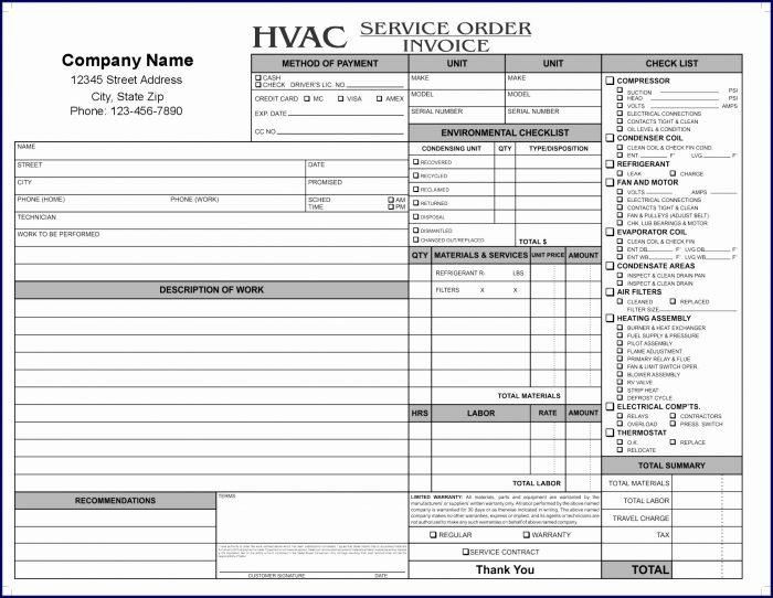 Hvac Service Invoice Template Free