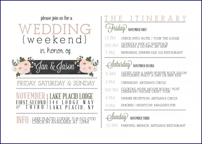 Indian Wedding Day Itinerary Template