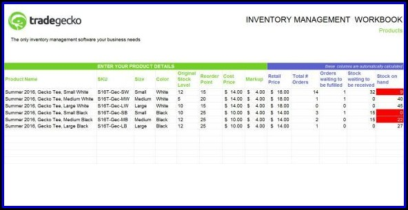 Inventory Spreadsheet Template Numbers