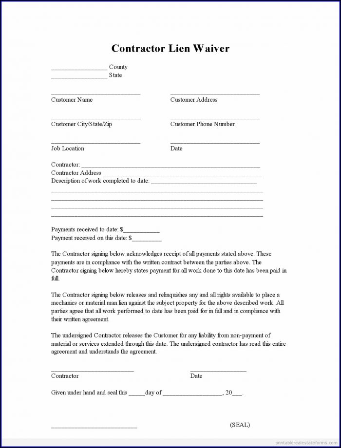Lien Waiver Form