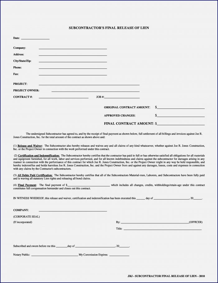Lien Waiver Form Wi