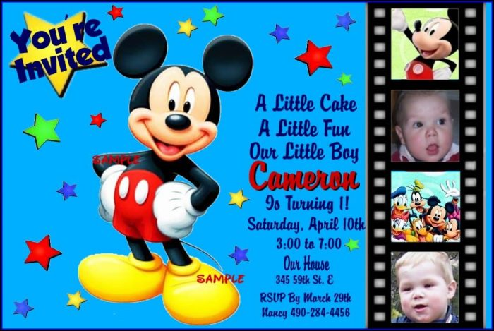 Mickey Mouse Birthday Invitation Wording