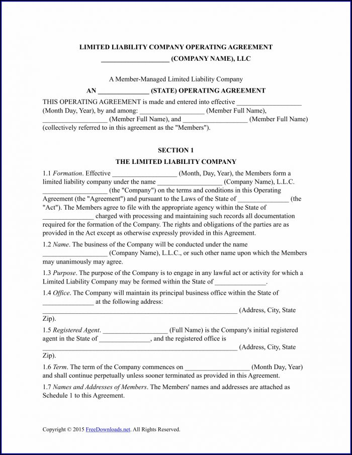 Microsoft Word Operating Agreement Template